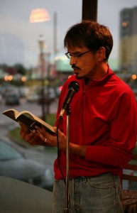 Damian Lopes reading poetry
